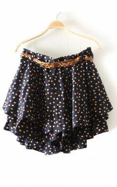 Polka Dot Vintage flounced chiffon culottes dark blue