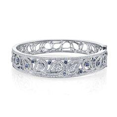 This Yogo Sapphire bracelet is a wonderful statement piece! #bozemen #montana #premier #custom #jewelry #bracelet #bangle #14K #gold  #diamonds #sparkle #natural #untreated