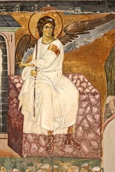 The fresco of the White Angel on the Grave of Christ is a masterpiece of century Serbian and European art. Byzantine Icons, Byzantine Art, I Believe In Angels, Russian Icons, Angels Among Us, Archangel Michael, European Paintings, Chef D Oeuvre, Guardian Angels