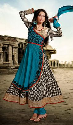 Black and Teal Blue Georgette Anarkali Suit Price: Usa Dollar $128, British UK Pound £76, Euro95, Canada CA$139 , Indian Rs6912.