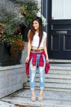 We're totally loving mega blogger babe @trangspage's #OOTD featuring Charlotte Russe plaid shirt and distressed denim!