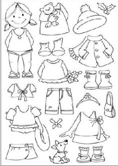 Little Girl paper doll Coloring & Cut outs by katheryn Paper Doll Template, Paper Dolls Printable, Coloring Books, Coloring Pages, Barbie Paper Dolls, Lego Birthday Party, Operation Christmas Child, Felt Patterns, Marianne Design