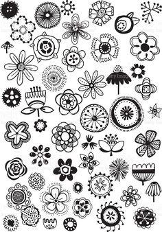 Rabisco de flores vetor e ilustração royalty-free royalty-free