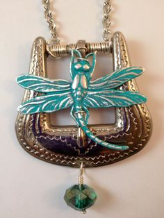 Upcycled Silver Western Style Belt Buckle Pendant by TTEDesigns, $25.00