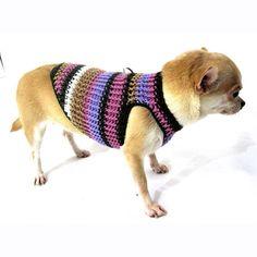 Dog Harness XXS Puppy Sweater Cotton Crochet Pet Collar Teacup Chihuahua Clothes Purple DH20 Myknitt Free Shipping