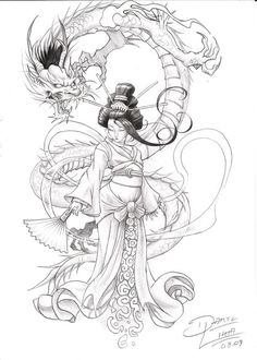 traditional geisha dragon print - Google Search: