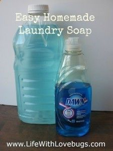 DIY Liquid Laundry Detergent 4 cups boiling water 3 Tbsp Borax 3 Tbsp Washing Soda 2 Tbsp Dawn Cool water to fill gallon jug almost full