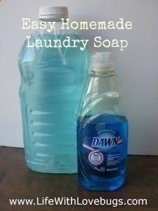 DIY Liquid Laundry Detergent 4 cups boiling water 3 Tbsp Borax 3 Tbsp Washing Soda 2 Tbsp Dawn Cool water to fill gallon jug almost full