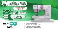 SASA 525 #ramadan #kareem #discount #sale #sewing #machine #sasa #stitch #fashion #online #mall
