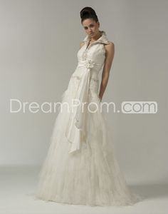 Gorgeous A-line Halter  Floor-Length Tiered Court Train Wedding Dresses with Flower