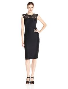 London Times Womens Lace Inset Neck Sheath Dress Black 6 -- Find out more about the great product at the image link.