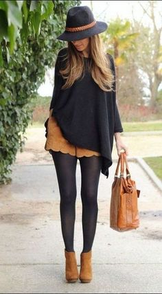 how to wear a hat black poncho : brown shorts + bag + boots