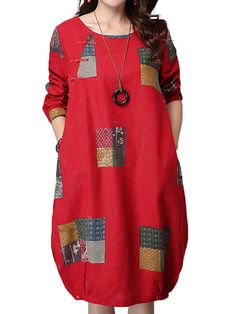 O-Newe Retro Color Block Printed Plate Button Pocket Dress For Women
