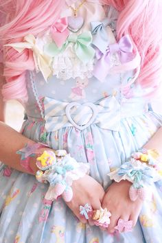 •○~ Sweet lolita, 甘いロリータ♥~  pastel - Angelic Pretty - pink hair - wig - accessories - jewelry - wristlets - bows - cute - kawaii - Japanese street fashion✮ ~•○