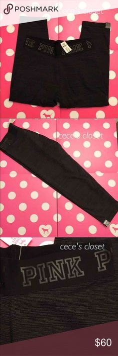 VS Pink *XS* ultimate crop leggings Victoria's Secret Pink ultimate crop patterned legging with logo on waistband. Brand new with tags.   Please do not ask for lowest. No trades.   Please see profile for additional info PINK Victoria's Secret Pants Leggings