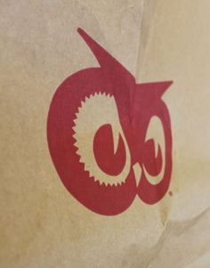Red Owl logo on an original Red Owl paper grocery bag.  The logo was designed by Hutchinson, Minnesota artist Les Kouba.