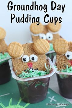 Groundhog Day Pudding Cup Snack {Quick and Easy} ~ * THE COUNTRY CHIC COTTAGE (DIY, Home Decor, Crafts, Farmhouse)
