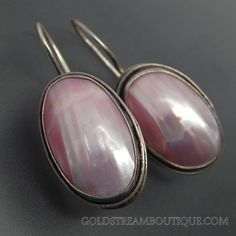 OVAL PINK MOTHER OF PEARL SWIRLS BORDER STERLING SILVER HOOK EARRINGS – Gold Stream Boutique