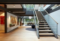 Prefabricated house manufactured by Huf Haus and furnished by B&B Italia in Weybridge