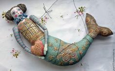 by Olga Mart from Russia Mermaid Dolls, Mermaid Art, Textile Sculpture, Textile Art, Marionette, Nautical Art, Doll Maker, Fairy Dolls, Soft Dolls