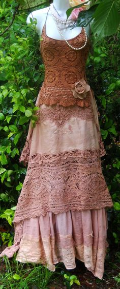 tea stained crochet maxi dress