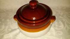 Large 1960's Brown Bean Crock With Lid Oven Proof Pot for Soup, Chili, Stew…