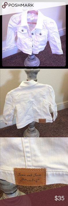 """Janie and Jack Jean Jacket Beautiful """"Janie and Jack"""" brand jean jacket in pristine condition. Like new. Two front pockets and two side pockets. White to go with any outfit. Janie and Jack Jackets & Coats Jean Jackets"""