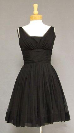 black cocktail dress | Black Chiffon Bullock's Wilshire Vintage Cocktail Dress VINTAGEOUS ...