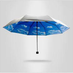 New Rain Women Folding Cute Female Umbrellas Creative blue sun umbrella sky prevented plastic folding uv protection umbrella