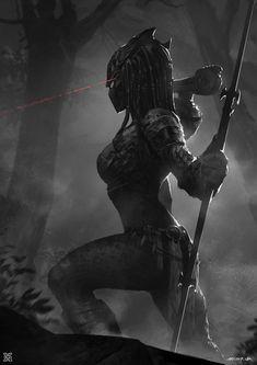 "spassundspiele: "" Female Predator – sci-fi concept art by Jeremy Mann "" Alien Vs Predator, Predator Alien, Predator Cosplay, Predator Movie, Dark Fantasy Art, Sci Fi Fantasy, Fantasy Characters, Female Characters, Alien Art"
