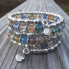 Multi Gemstone Memory Wire Wrap Bracelet With door McHughCreations