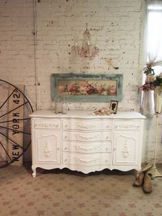 Painted Cottage Chic Shabby White Romantic by paintedcottages Dixie Furniture, French Furniture, Paint Furniture, Vintage Furniture, Home Furniture, Painted Cottage, Shabby Cottage, Cottage Chic, Sideboard Ideas