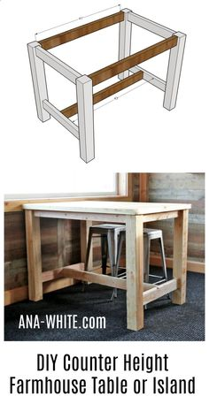 Plans of Woodworking Diy Projects - Ana White | Counter Height Farmhouse Table for Four - DIY Projects Get A Lifetime Of Project Ideas & Inspiration! #woodworkdiy #WoodworkDIY