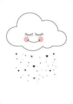 Baby, nursery, art, decor, decorate, decorating, decoration, decorations, print, cloud, clouds, heart, hearts, star, stars