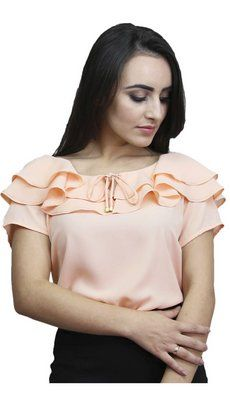 SF2036 - Blusa Decote Duplo Sofina Simple Dresses, Pretty Dresses, Kurti Patterns, Cap Dress, Work Blouse, Office Fashion, Work Attire, African Dress, Fashion Sketches