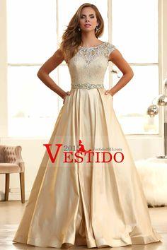 2015 vestidos de baile Bateau balón vestido de encaje blusa con falda larga tafetán barrer de tren