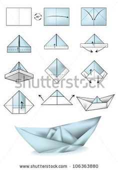 Paper boat instructions illustration tutorial by Webspark, via ShutterStock