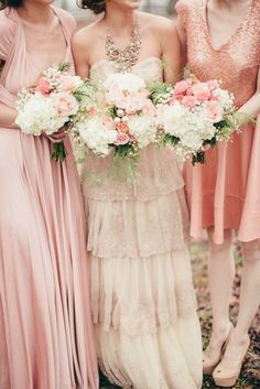 Rose Gold Mismatched Bridesmaids | See More Ideas: http://thebridaldetective.com/the-ultimate-guide-to-metallics/