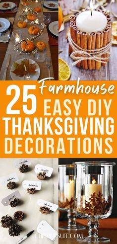 25 Easy Thanksgiving Decorations DIY To Copy This Year | Farmhouse Thanksgiving decor ideas and dollar tree thanksgiving decor to make your house feel more welcoming this fall. Including Easy DIY Thanksgiving decor, Thanksgiving table decorations, Thanksgiving centrepiece ideas, Thanksgiving party decor ideas and more. Make your home beautiful this fall! #thanksgiving #thanksgivingdecor #thanksgivingdecorations #farmhousethanksgivingdecor #dollartreethanksgivingdecor… White Pumpkin Centerpieces, Lighted Centerpieces, Thanksgiving Centerpieces, Table Decorations, Diy Apple Candles, Thanksgiving Tree, Thanksgiving Recipes, Pumpkin Decorating, Holiday Decorating