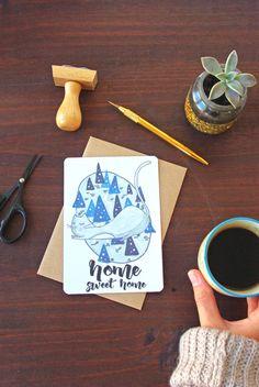 Carte Chat Home Sweet Home  Cadeau par GodSavetheTeatime sur Etsy