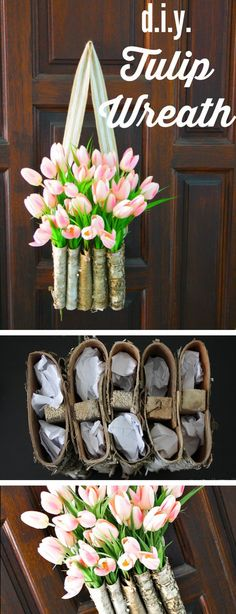 DIY Tulip Wreath // Use folded birch planters to create this unique take on a stunning spring wreath.
