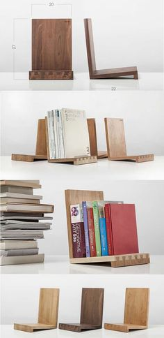 Wooden Office Desk Bookshelf Bookshelves Display Organizer BookEnd