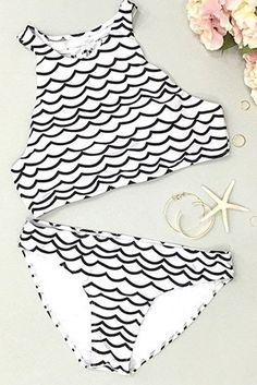 Cupshe Deep Water Waves Tank #Bikini #Set