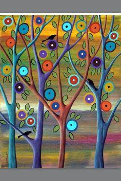 Evening Serenade by Karla Gerard.her work makes me smile:) Karla Gerard, Naive Art, Whimsical Art, Art Plastique, Tree Art, Painting Inspiration, Art Lessons, Painting & Drawing, Folk Art