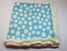 Great babyshower gift- Blue with White Dots Fleece Baby Blanket with Crochet Edge | KuhLovies