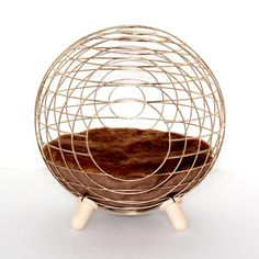 We saw this unique, modern cat bed from Lord Paw. It looks like a circle cage with a comfy faux fur bed. Wire Crate, Faux Fur Bedding, Pet Style, Unique Cats, Textiles, Pet Furniture, Dog Bed, Pet Supplies, Cat Beds