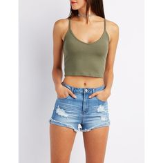 Charlotte Russe Ribbed Sleeveless Crop Top ($9.99) ❤ liked on Polyvore featuring tops, sweaters, olive, cropped sweaters, sleeveless crop top, olive green crop top, strappy crop top and cropped v neck sweater