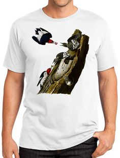 Red-Headed Woodpeckers Retro Men & Ladies T-shirt - Gift for Bird Lovers and…