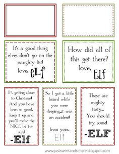 just Sweet and Simple: Printable Elf on the Shelf Notes