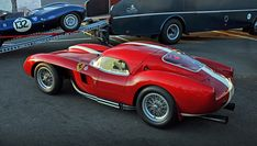 Red 1957 Ferrari 250 Testa Rossa with a hardtop on it